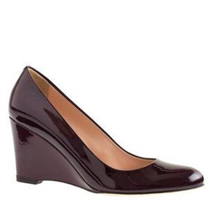 J Crew martina leather wedges in maroon